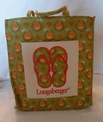 Longaberger small Flip Flop tote in green paisley fabric with Plastic Liner
