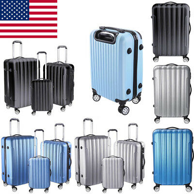 3 Piece Trolley Luggage Bag Set Travel Hardside Suitcase Carry On Set Safety US