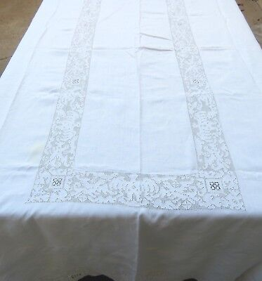 Vintage Linen Drawn Work Lace Tablecloth 64x98 Rectangle Dinosaurs