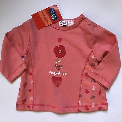 New with Tags baby girls french designer peach ls tshirt top sz 00 6m joli heart