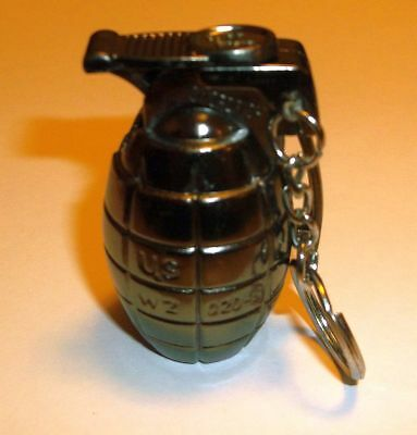 Hand Grenade Keychain WINDPROOF TORCH Butane Refillable Lighter- CHARCOAL COLOR