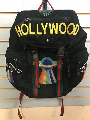 7f96767fdb54d3 Gucci Embroidery UFO Hollywood Mesh Bag Backpack 429037
