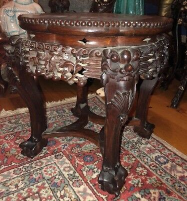 19th C CHINESE CARVED WOOD TABLE MARBLE TOP  WOOD Foo Dog Flower Design