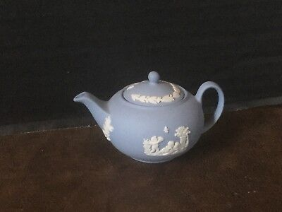 Wedgwood Blue Jasperware Miniature Teapot
