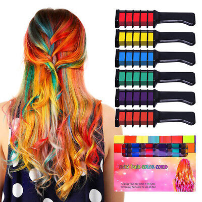 6x Temporary Hair Chalk Color Comb Dye Kits Disposable Cosplay Party Hair Dyeing