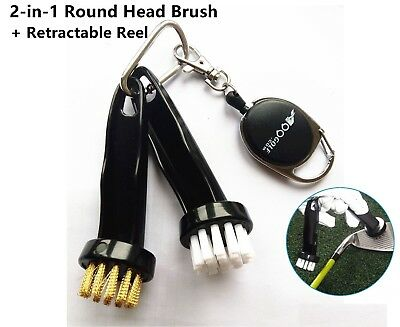 A99 Golf 2-in-1 Round Head Brush + Retractable Reel club brush cleaner