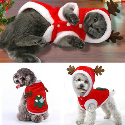 New Pet Christmas Outfits Warm Furry Puppy Clothes Xmas Costume for Dogs Cats