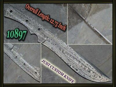 "12.75""Custom made Rare Damascus hunting blank blade knife making suppliers 10897"