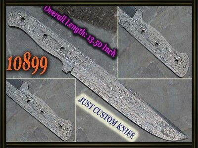"13.5""Custom made Rare Damascus hunting blank blade knife making suppliers 10899"