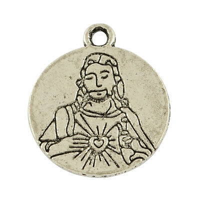 50pcs Tibetan Alloy Jesus Pendants Carved Word Back Dangle Charms Findings 21mm
