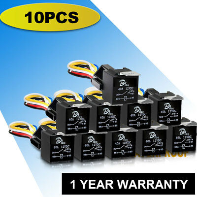 10Pcs DC 12V Car SPDT Automotive Relay 5 Pin 5 Wires w/Harness Socket 30|40 AMP