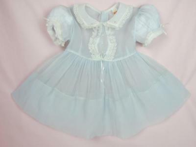 """Vintage Toddler Girl's / Baby Sz 2T Sheer Party Dress 1950s  Lg Doll Size 32-36"""""""