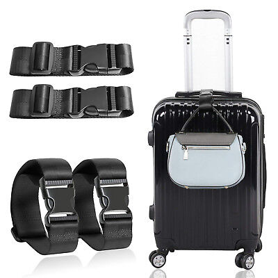 4 Pack Heavy Duty Non-Slip Adjustable Travel Suitcase Luggage Strap Buckle Belts