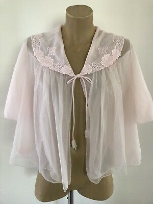 Texware Lingerie Bed Jacket Sz M-L Pink Nylon Embroidery Sheer Vintage EUC
