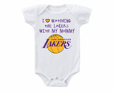 a2335e7ce85 Los Angeles LA Lakers Onesie Bodysuit Shirt Love Watching With Mommy