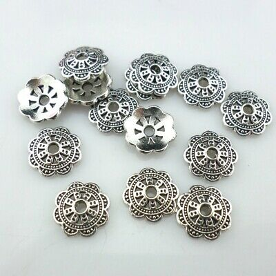 80/650pcs Tibetan Silver 10mm Hollow Flower Bead Caps Charms Crafts Making