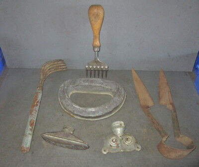 Vintage Garden Tool Lot~Sprinklers,thompson Twin,crescent Brass~Hand Rake,shears