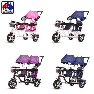 Double Seats Tandem Tricycle Toddler Kids Pram Stroller Ride on Trike HTT0248