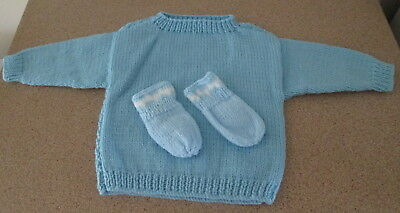 Blue Handknitted Baby Boy Jumper Matching Mittens To Suit 6 Months Old
