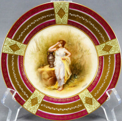 Royal Vienna Style Hand Painted Signed Ullnior Greek Woman & Urn Dessert Plate