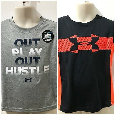 Under Armour Heatgear Boys Gray/Anthracite Sz 2T T-shirt $45 NWT Lot of 2