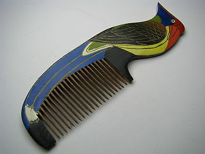 "HAND PAINTED WOODEN WOOD HAIR COMB ""WOODPECKER"" Asia China ca1950s Excel Cond"