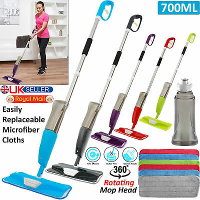 JF 700Ml Spray Mop Water Spraying Floor Cleaner Tiles Microfibre Marble Kitchen