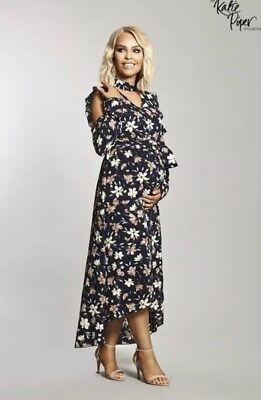 Katie Piper Want That Trend Maternity Ruffle Maxi Cold Shoulder Dress Size 12