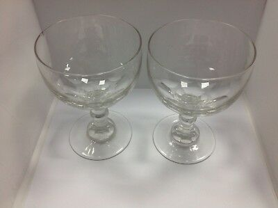 Pair Of Unusual Victorian Cut Glass Wine Goblets