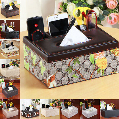 1x Tissue Box Dispenser Leather Cover Paper Storage Holder Napkin Case Organizer
