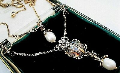 Beautiful Statement Necklace Art Deco Vintage Style Real Pearl Star Beetle Drop