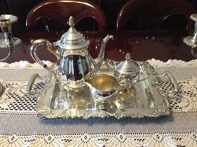 Vintage Silverplate 3 Pce Tea Service And Tray