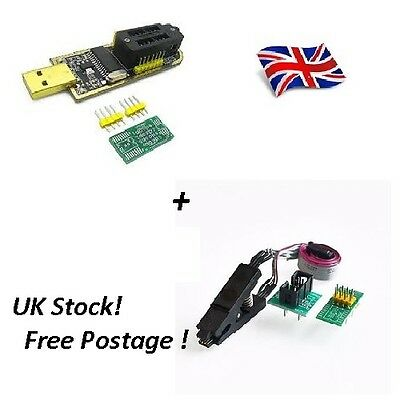 SOIC8 Clip On-Board + CH341A 24 25 Series EEPROM Flash BIOS USB [FAST UK SELLER]