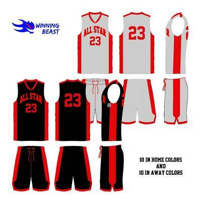 Basketball Uniforms Package In Home And Away Colors - 9 To 10 Years Old Players