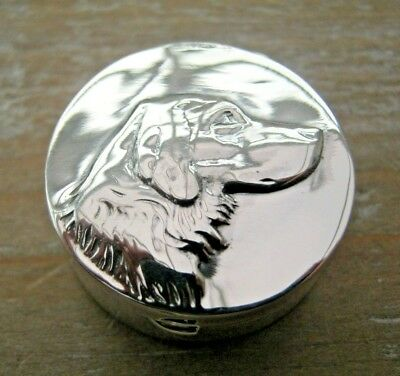 English Hallmarked Solid Sterling Silver Box Snuff Pill Retriever Hunting Dog