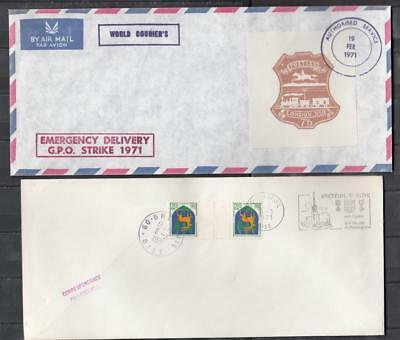 1971 Postal Strike Two Large Covers All Used ( For Condition See Scan )