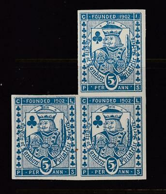 1919 City Of London 5s Imperf Block Of 3 Unmounted Mint Full Gum ( For Condition