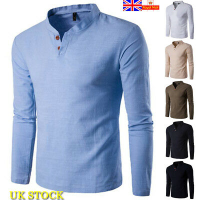 UK Mens V Neck Button Muscle Slim Fit Plain T-Shirt Casual Long Sleeve Tops Tee
