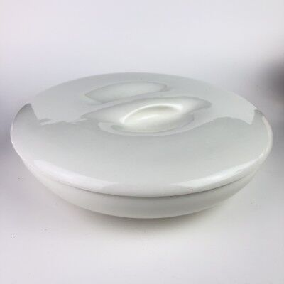 """10 1/2"""" Russel Wright Iroquois Casual Divided Dish with Lid Sugar White"""