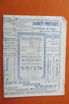 1905 Theatre Royal Hanley The Talk Of The Town Programme  Stoke On Trent
