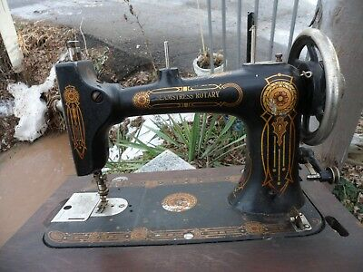 Antique Cast Iron Seamstress Rotary Hand Crank Table Top Sewing Machine USA