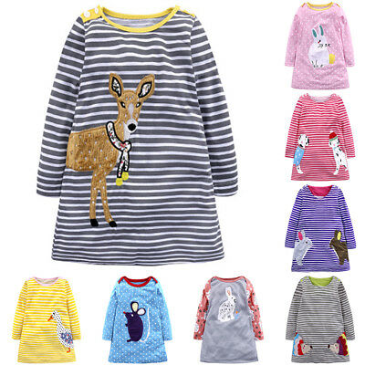 Casual Baby Girl Dress Outfits Animal Print Clothes Striped Stylish Long Sleeve