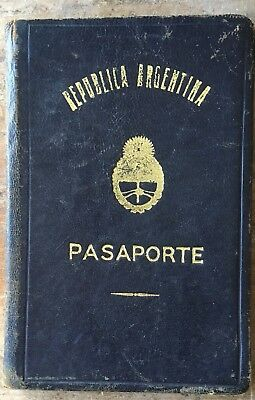 1962 Argentina Old Passport expired cancelled with dates, 9 tax stamps and visas