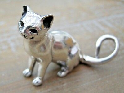 An Incredibly Sweet English Hallmarked Sterling Silver Sitting Cat Statue Figure
