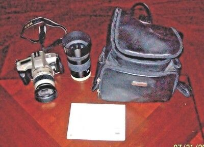 Minolta 35Mm Autofocus Slr Camera With Backpack Leather Case Manual & Zoom Lens