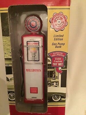 "Red Crown Die Cast Replica Vintage Gas Pump Coin Bank 6 1/2"" Tall Red & White"