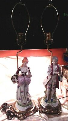"""French Victorian Couple Porcelain Table 28"""" Lamps Figures  Man & Woman Post WWII"""