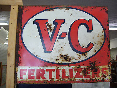 1957 V-C Fertilizers Flange Double Sided Sign--Dated 1957