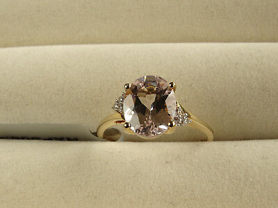 Rare Mutala Pink/Peach Morganite & White Zircon 9K Yellow Gold Ring Size P-Q/8