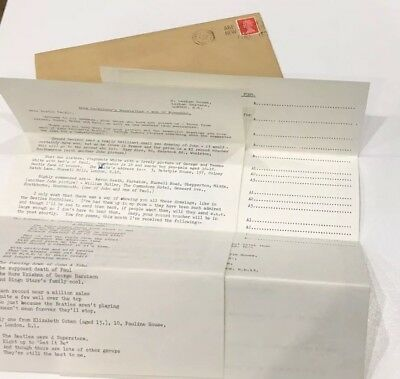 The Beatles Fan Club letter manually typed, original envelope, D. Broadbent